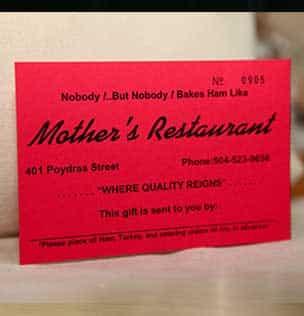 Mother's Restaurant gift certificates